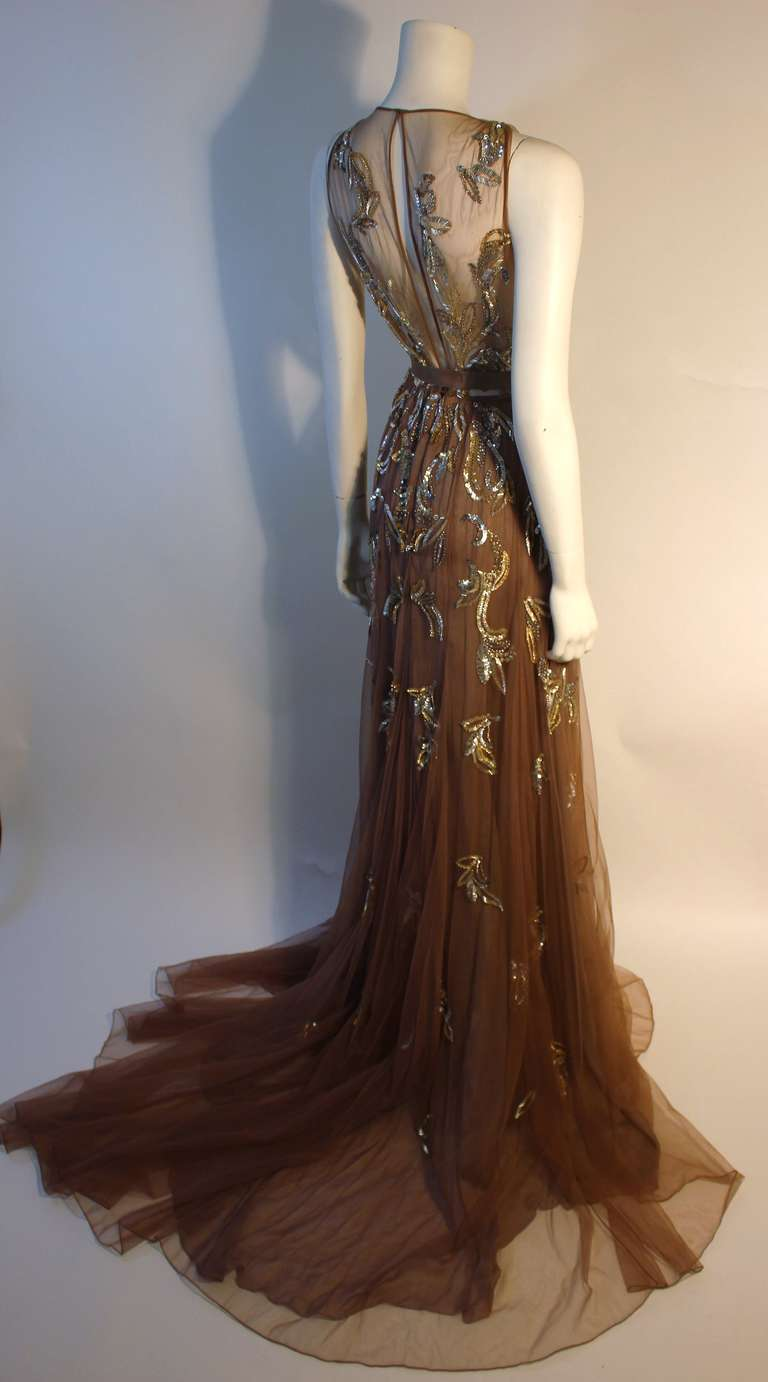Dennis Basso Mocha Tulle with Silver Beads & Sequins Silk lined Evening Gown 5