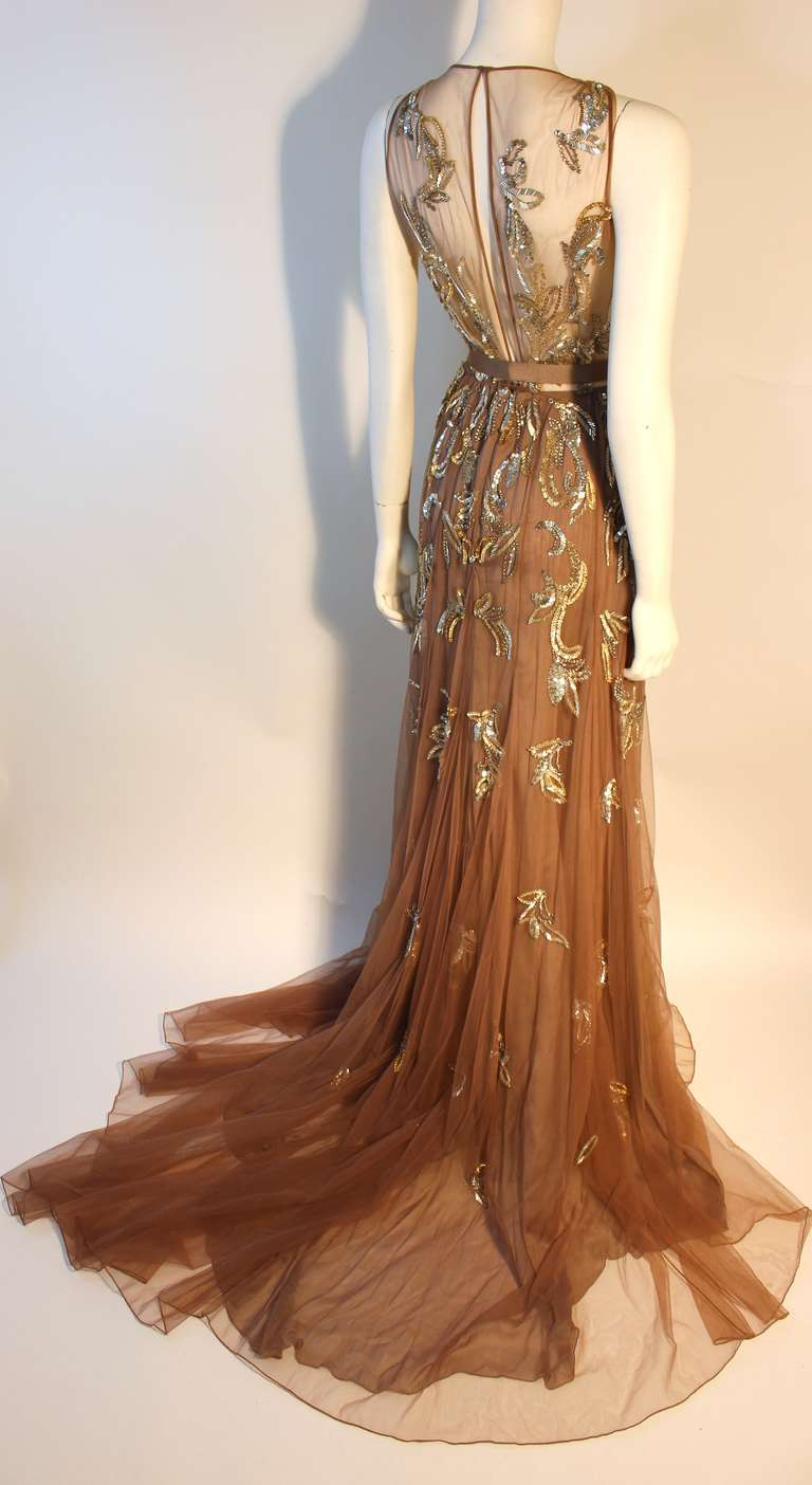 Dennis Basso Mocha Tulle with Silver Beads & Sequins Silk lined Evening Gown 4