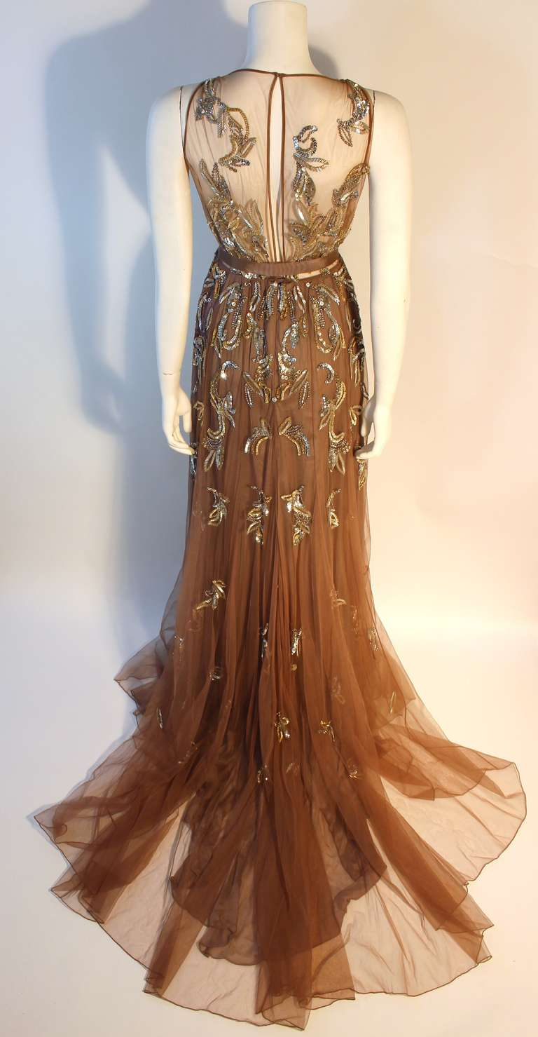 Dennis Basso Mocha Tulle with Silver Beads & Sequins Silk lined Evening Gown 6