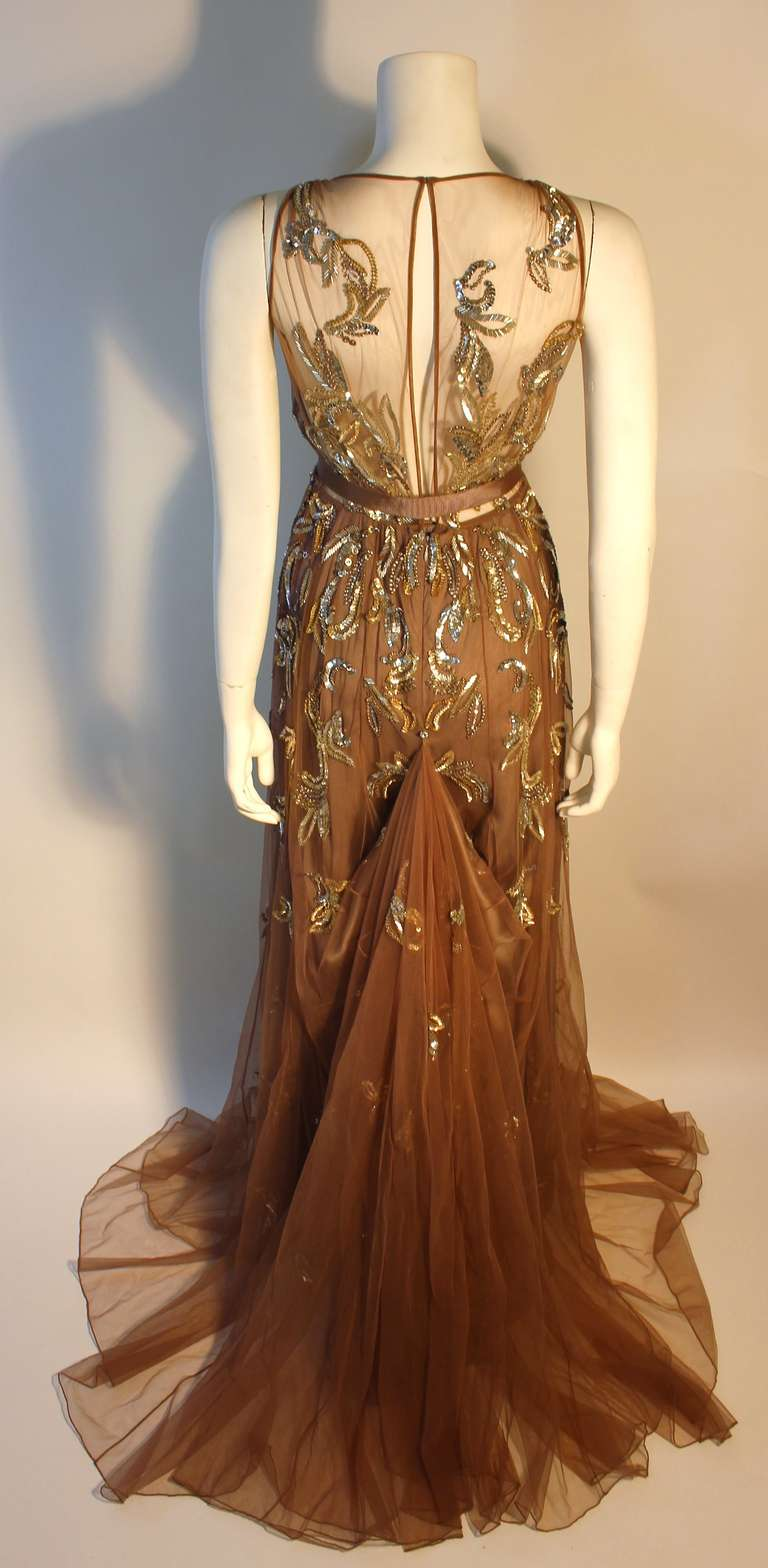 Dennis Basso Mocha Tulle with Silver Beads & Sequins Silk lined Evening Gown 7