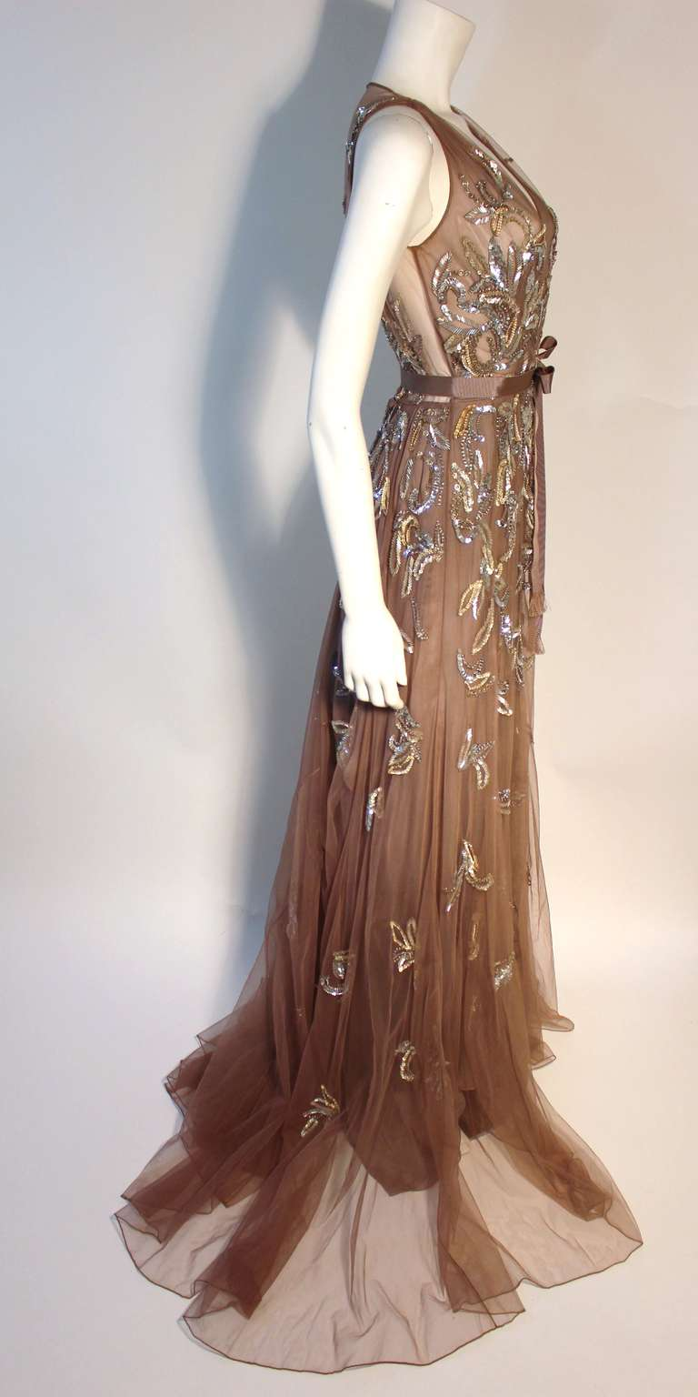 Dennis Basso Mocha Tulle with Silver Beads & Sequins Silk lined Evening Gown 8