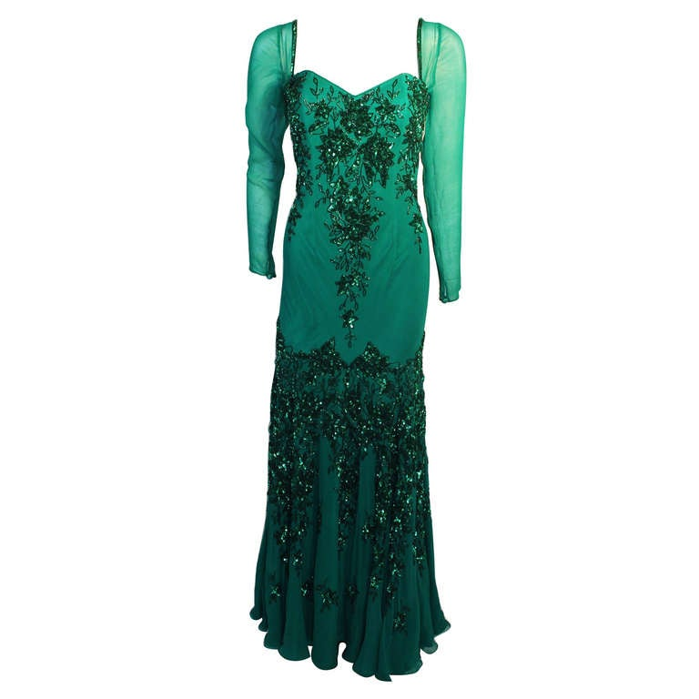 Stunning Eavis & Brown London Emerald Green Gown with Matching Wrap 1