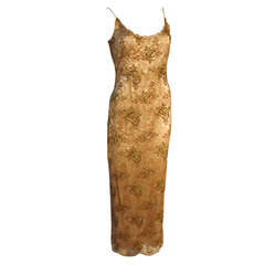 Richard Tyler Couture Pale Blush Champagne Embroidered Lace over Nude Silk Gown