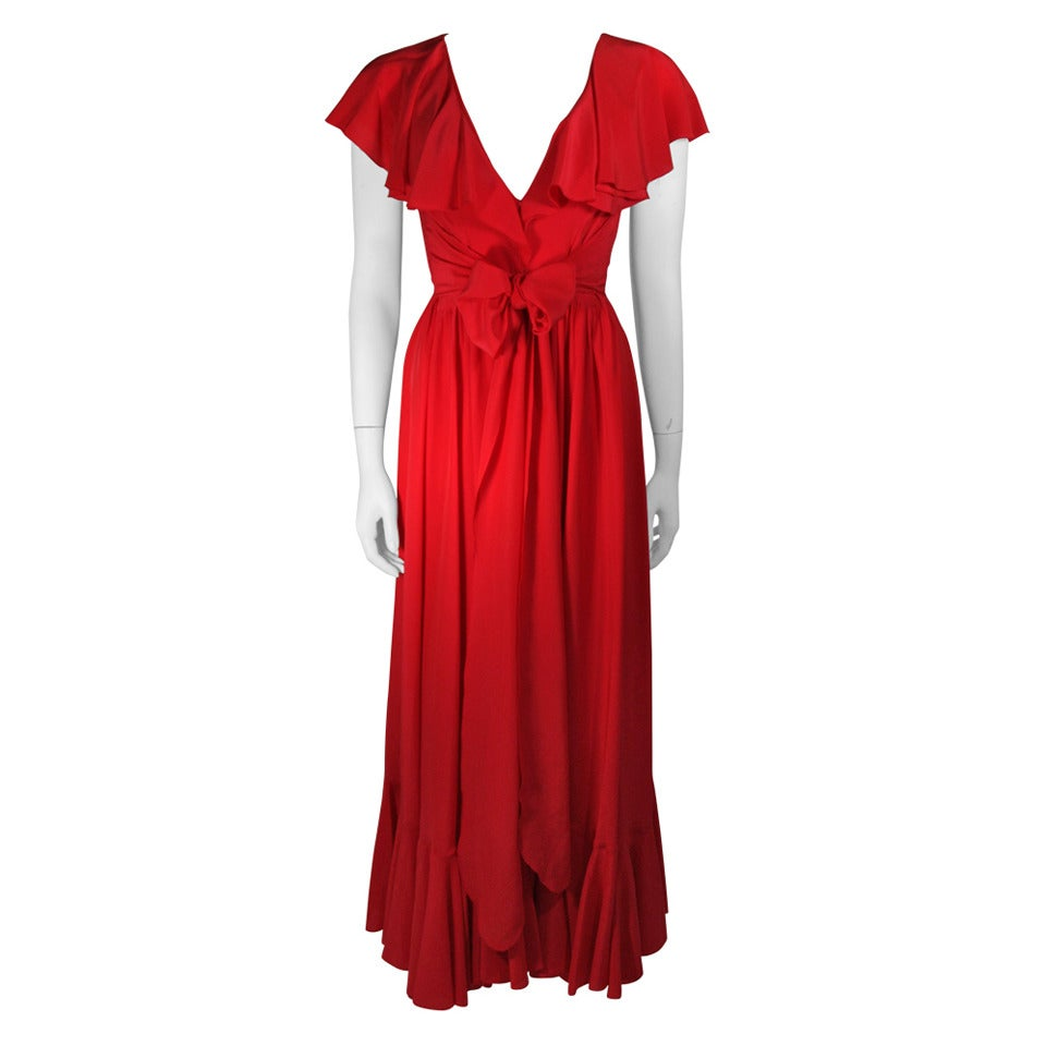 oscar de la renta red silk flutter neckline wrap waist and ruffle hem dress size 6 for sale at. Black Bedroom Furniture Sets. Home Design Ideas