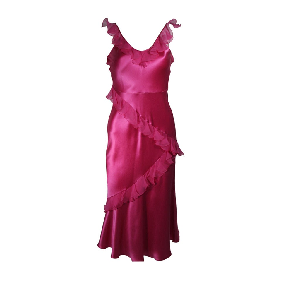 Christina Dior Ruffled Pink Silk Chiffon Dress Size XS For Sale