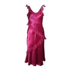 Christina Dior Ruffled Pink Silk Chiffon Dress Size XS
