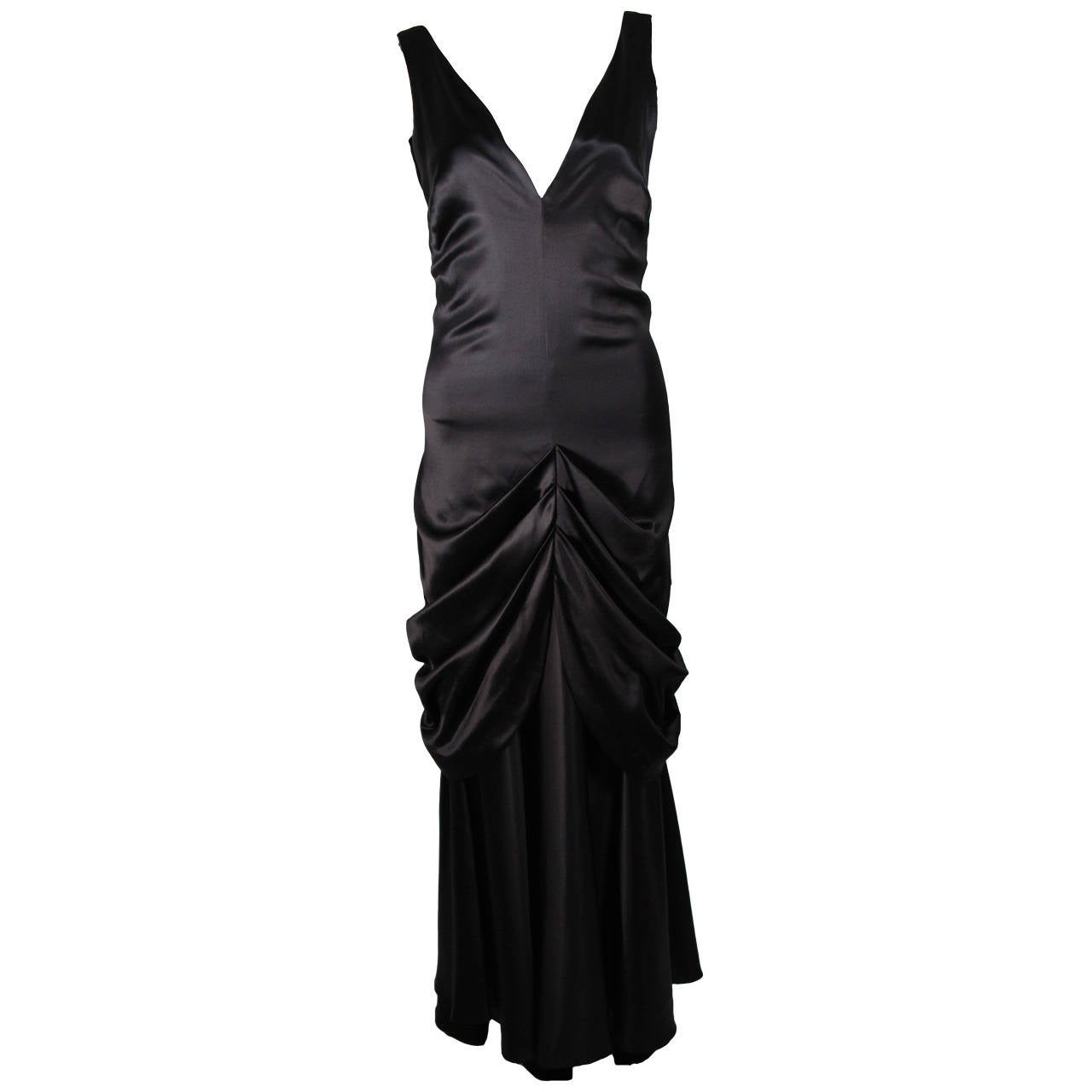 Ralph Lauren Black Silk Gown Size 12 For Sale at 1stdibs