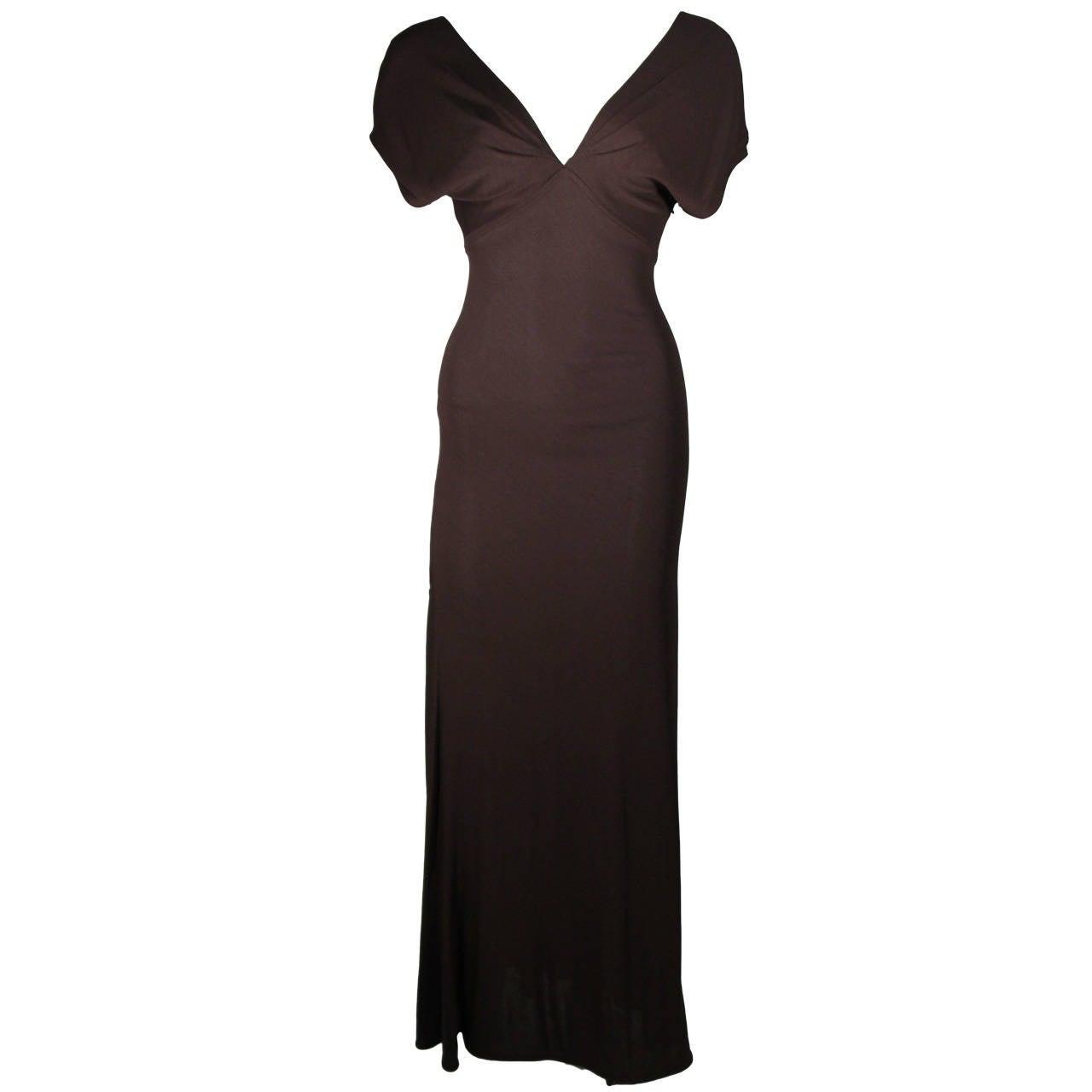 Emanuel Ungaro 1990's Brown Jersey Gown Size 8