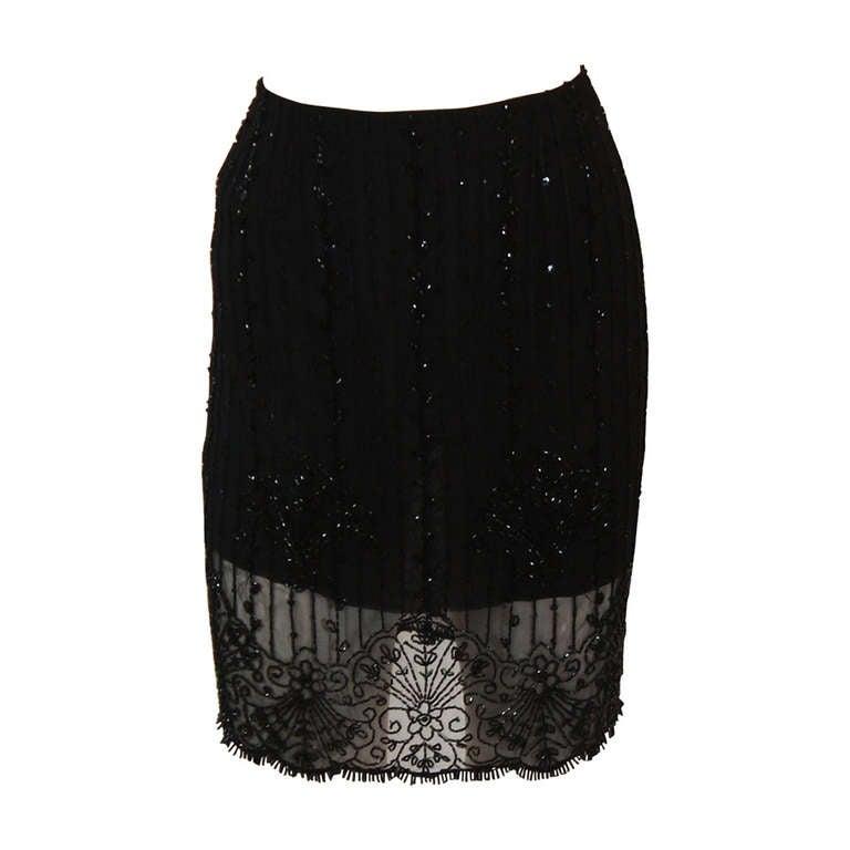 Exquisite Emanuel Ungaro Black Embellished Skirt Size Small