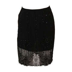 Exquisite Emanuel Ungaro Black Embellished Skirt Size Small