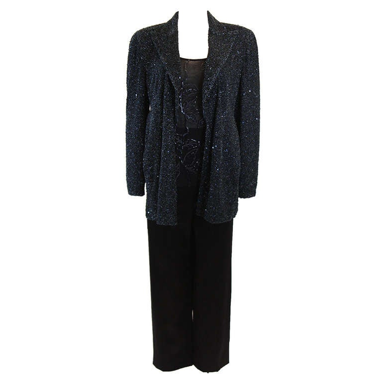 Dazzling Beaded Giorgio Armani Navy Evening Suit 3 Piece Size 46