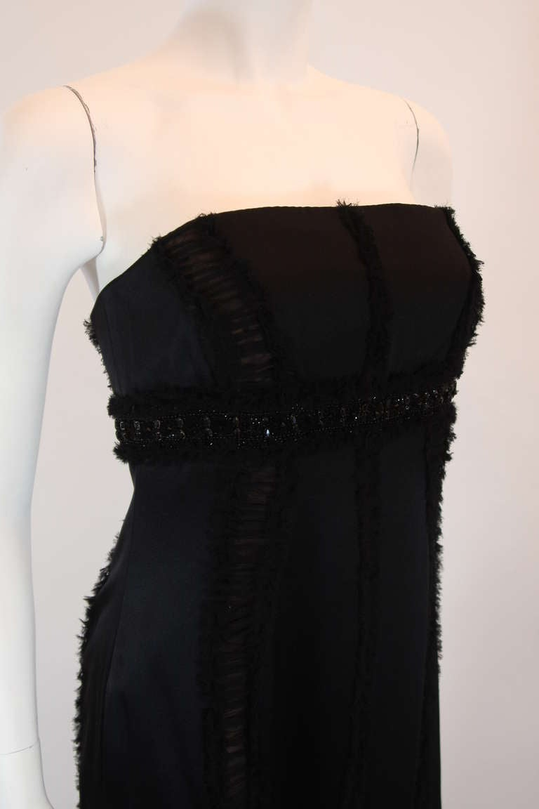 Wonderful Badgley Mischka Black Silk Cocktail Dress Size Small In Excellent Condition For Sale In Los Angeles, CA