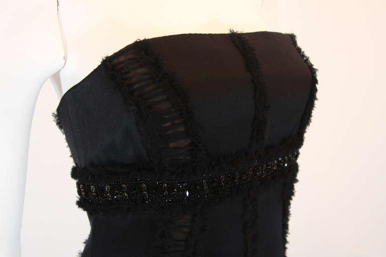 Women's Wonderful Badgley Mischka Black Silk Cocktail Dress Size Small For Sale