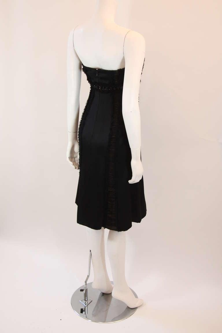 Wonderful Badgley Mischka Black Silk Cocktail Dress Size Small For Sale 1