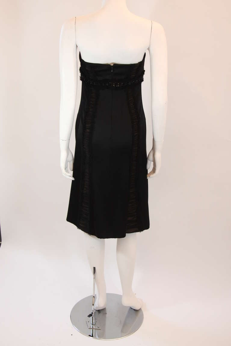 Wonderful Badgley Mischka Black Silk Cocktail Dress Size Small For Sale 2