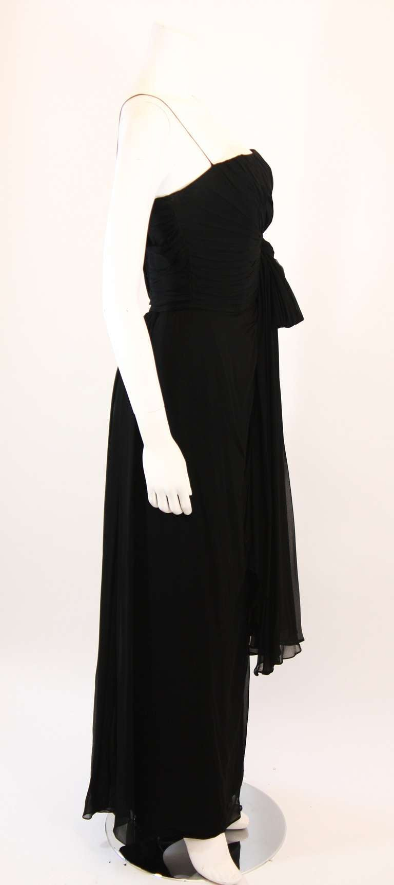 Women's Emma Domb Black Silk Chiffon Gown Size S For Sale