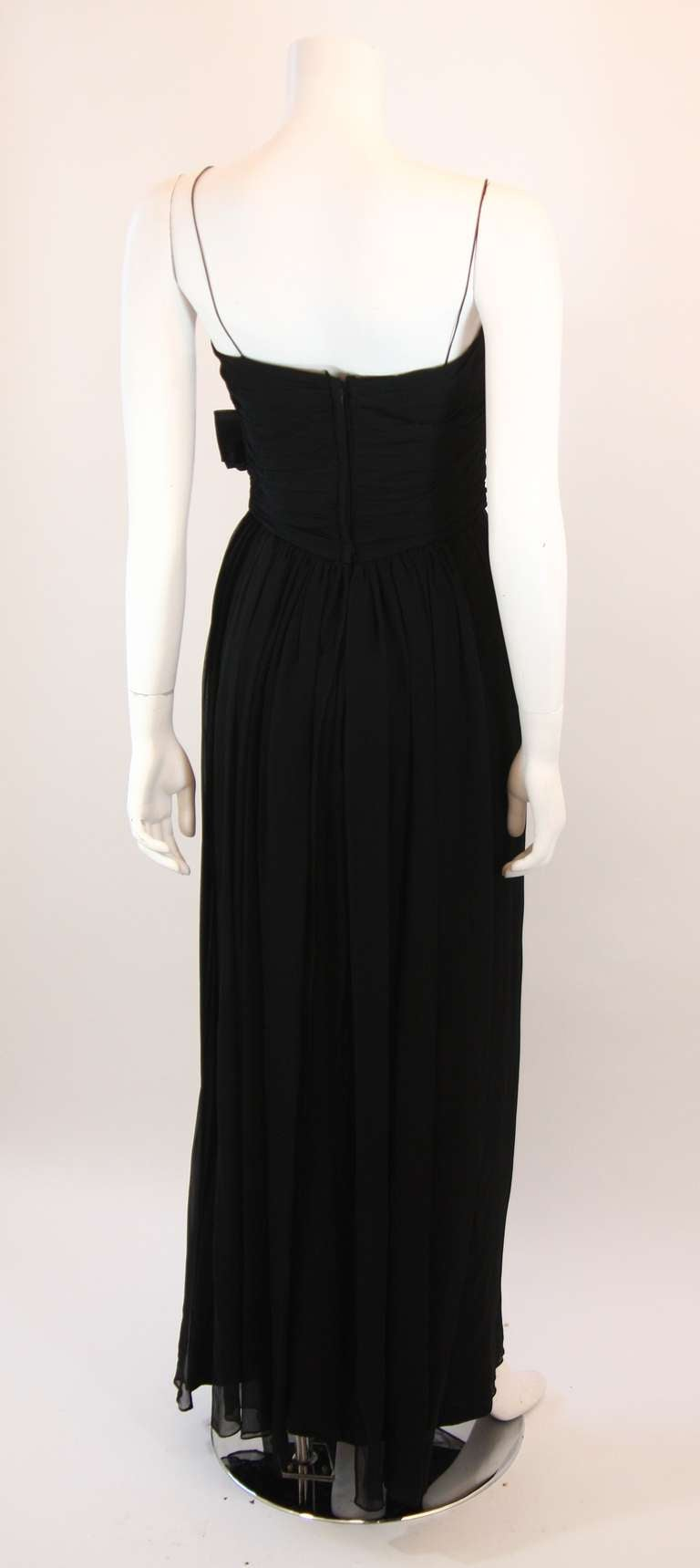 Emma Domb Black Silk Chiffon Gown Size S For Sale 1