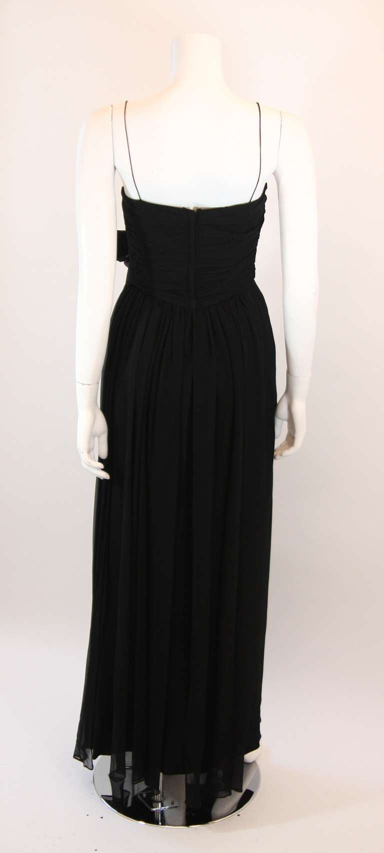 Emma Domb Black Silk Chiffon Gown Size S For Sale 2