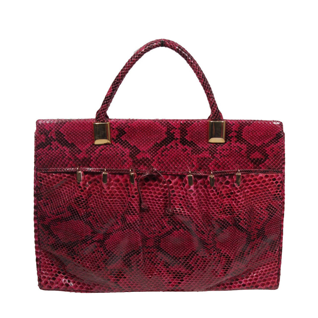 1980's Judith Leiber Extra Large Magenta Snakeskin Tote with Gold Hardware 1