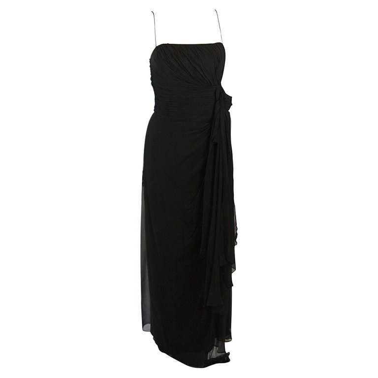 Emma Domb Black Silk Chiffon Gown Size S For Sale