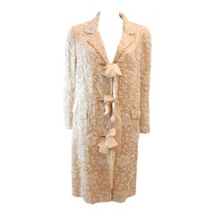 Cream Silk Coat with white floral beaded motif and ribbon tie closures