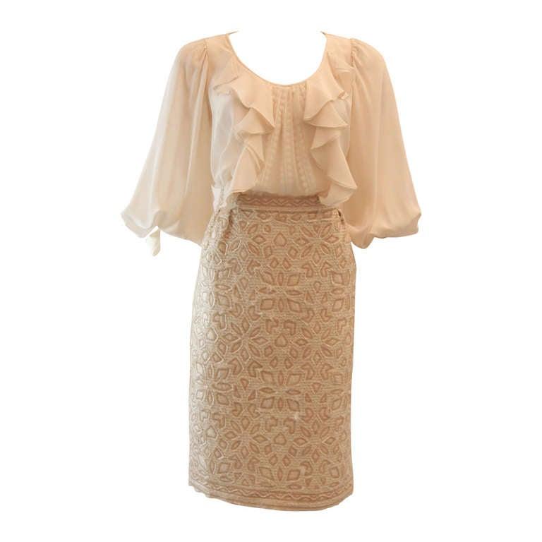 Oscar De La Renta Ivory and Cream Silk Blouse and Skirt Set Size 10 1