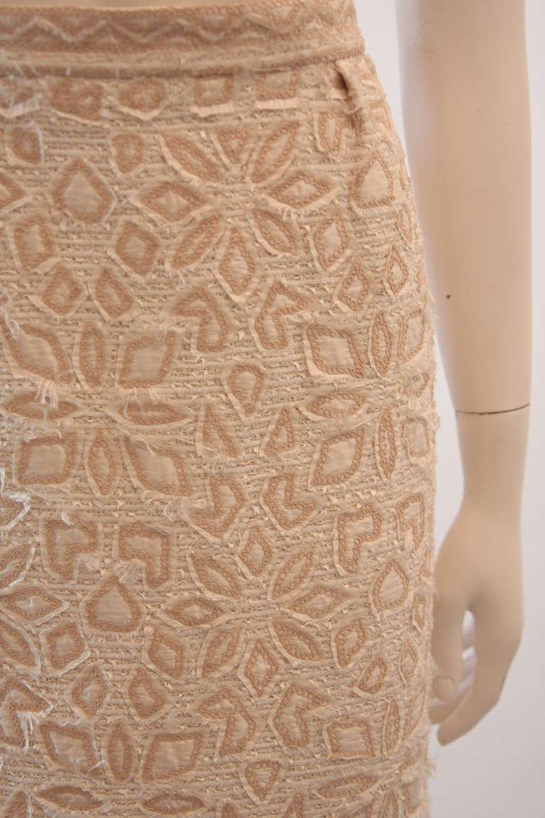Oscar De La Renta Ivory and Cream Silk Blouse and Skirt Set Size 10 8
