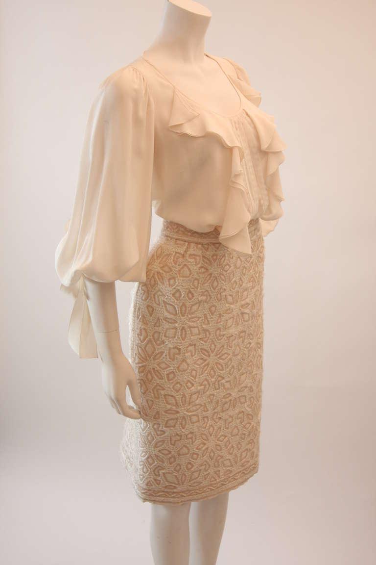 Oscar De La Renta Ivory and Cream Silk Blouse and Skirt Set Size 10 2
