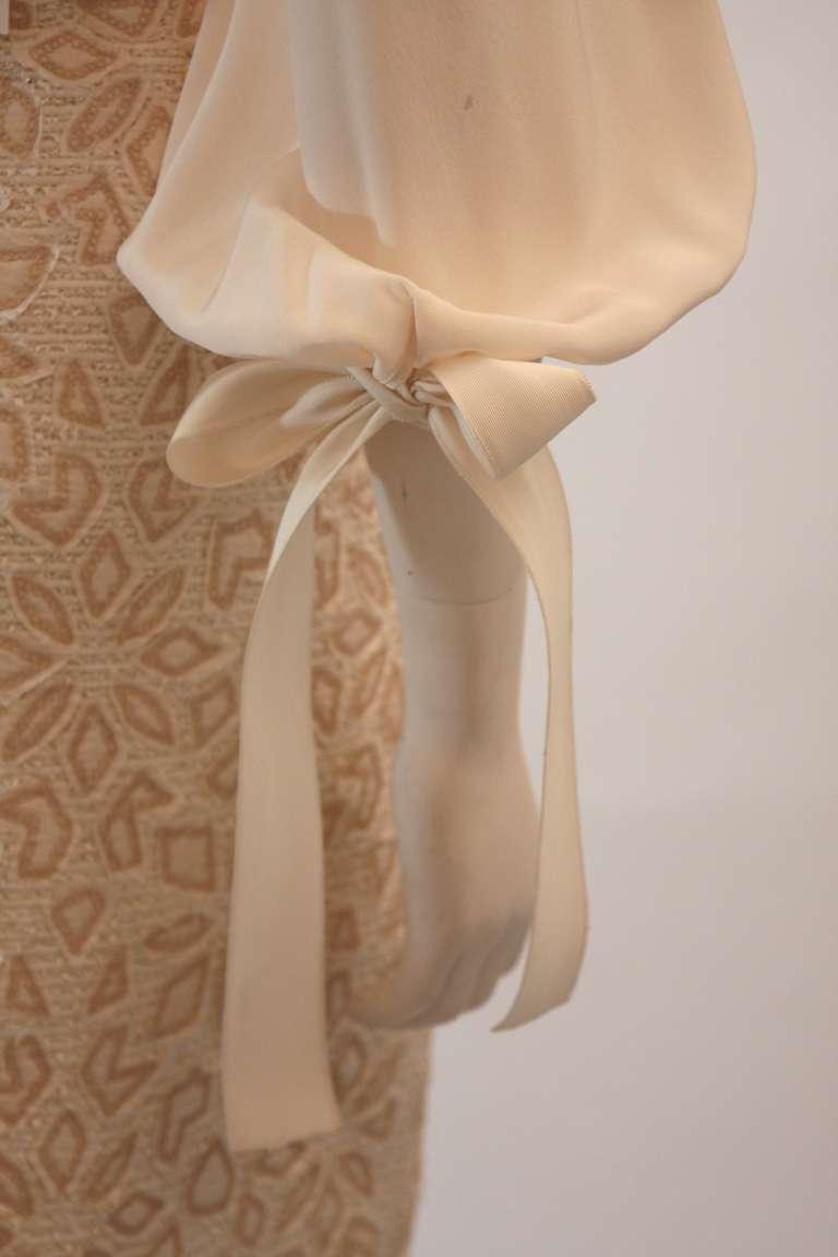 Oscar De La Renta Ivory and Cream Silk Blouse and Skirt Set Size 10 5