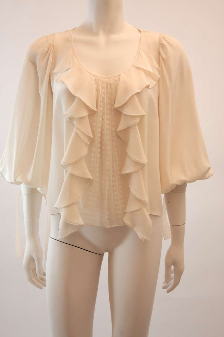 Oscar De La Renta Ivory and Cream Silk Blouse and Skirt Set Size 10 6