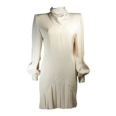 Galanos Couture Cream Silk Cocktail Dress Size 2 4
