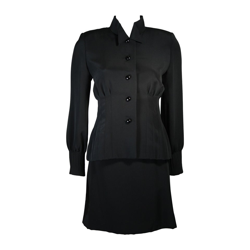 galanos couture pleated skirt suit with mandarin collar