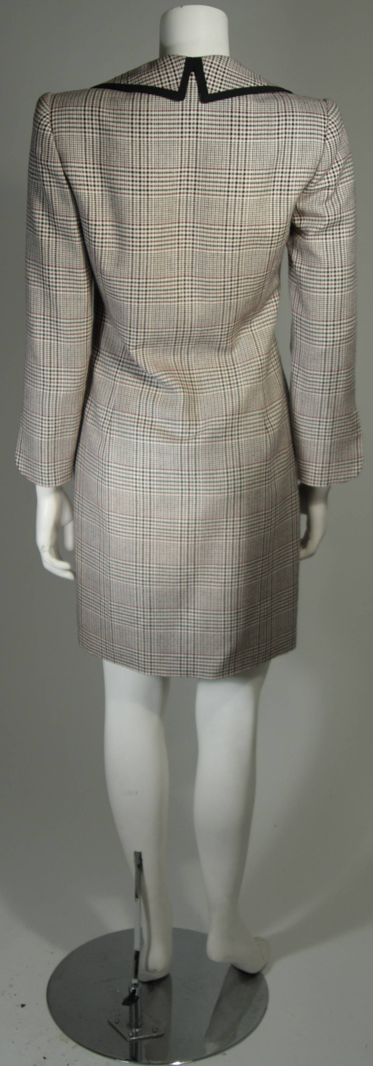 Galanos Couture Maroon Houndstooth Dress With Black Trim