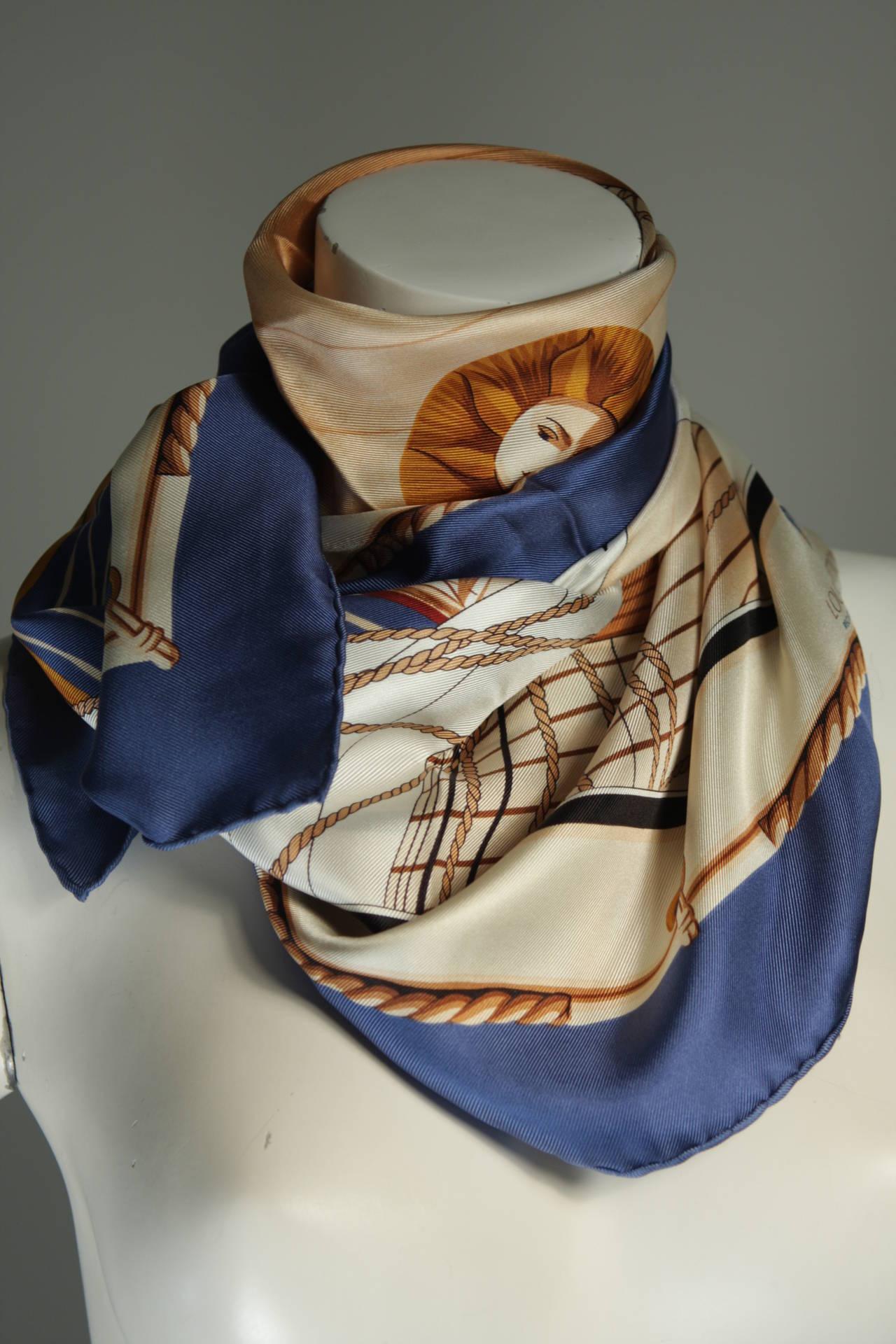 Louis Vuitton Cup Nautical Silk Scarf At 1stdibs