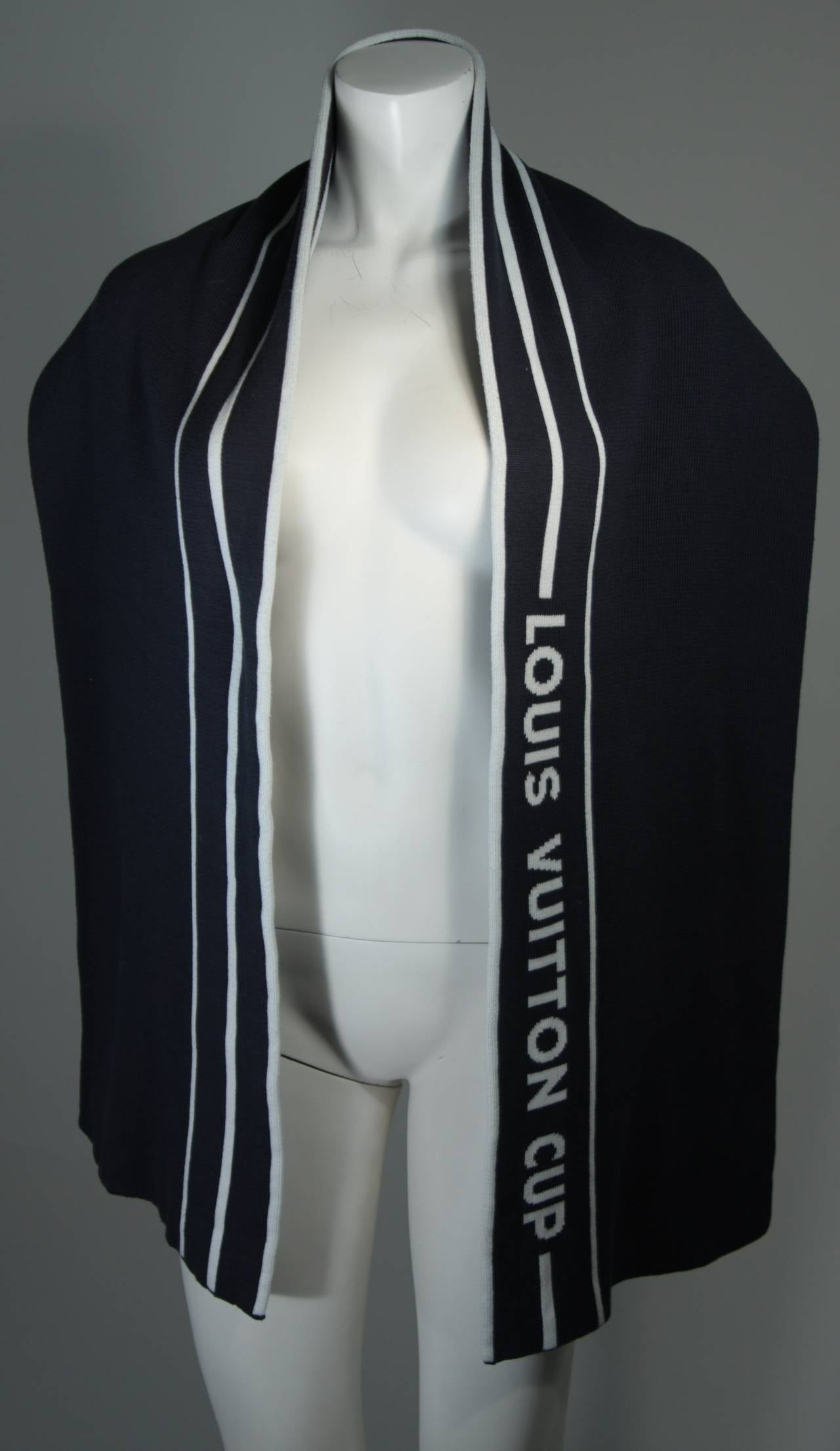 Black Louis Vuitton Cup Navy Cashmere Blend Scarf For Sale