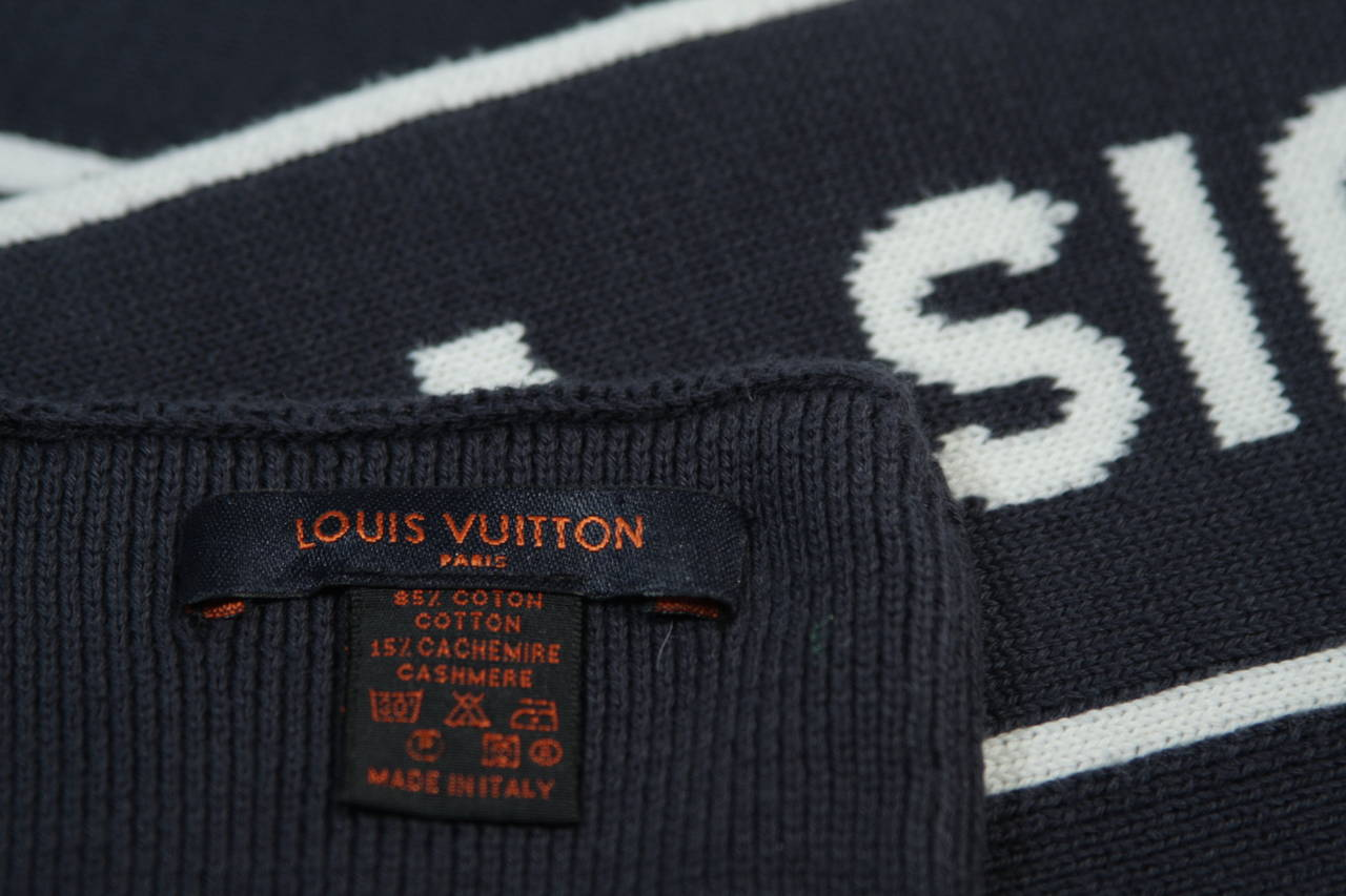 Louis Vuitton Cup Navy Cashmere Blend Scarf For Sale 2