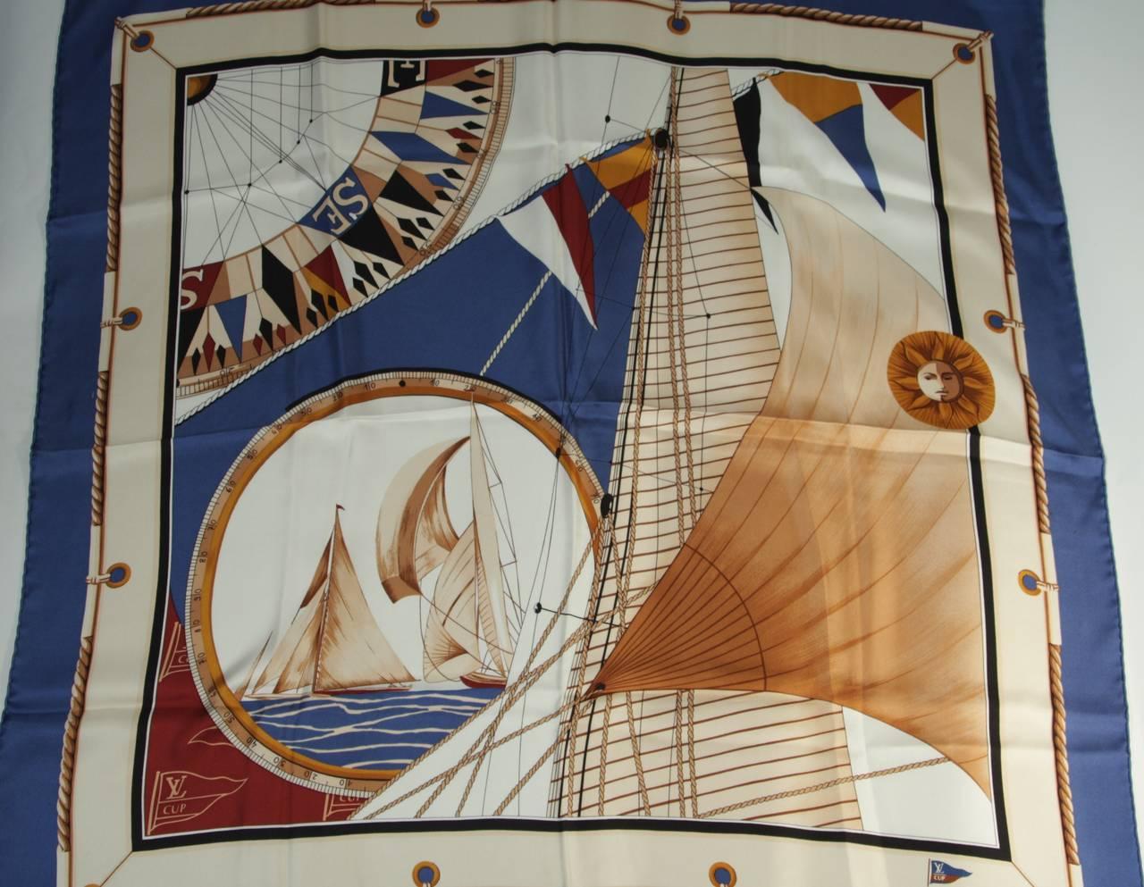 Louis Vuitton Cup Nautical Silk Scarf 5