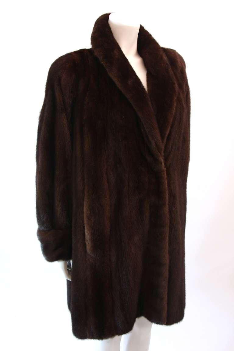 Luscious Somper Fur Couture Shawl Collar Mink 3/4 length Coat sz 6-8 3