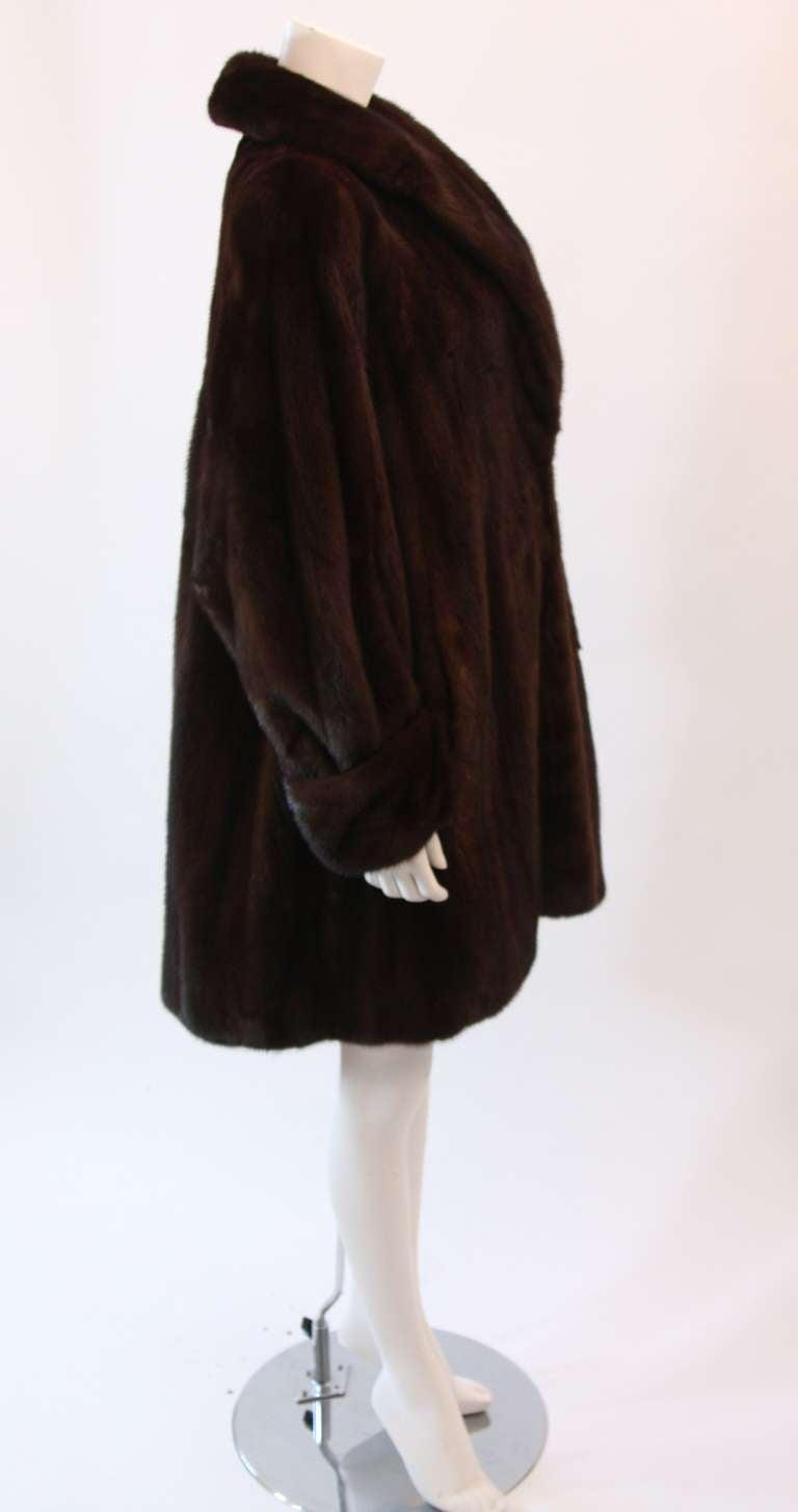 Luscious Somper Fur Couture Shawl Collar Mink 3/4 length Coat sz 6-8 4