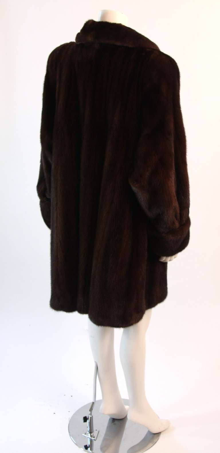 Luscious Somper Fur Couture Shawl Collar Mink 3/4 length Coat sz 6-8 5
