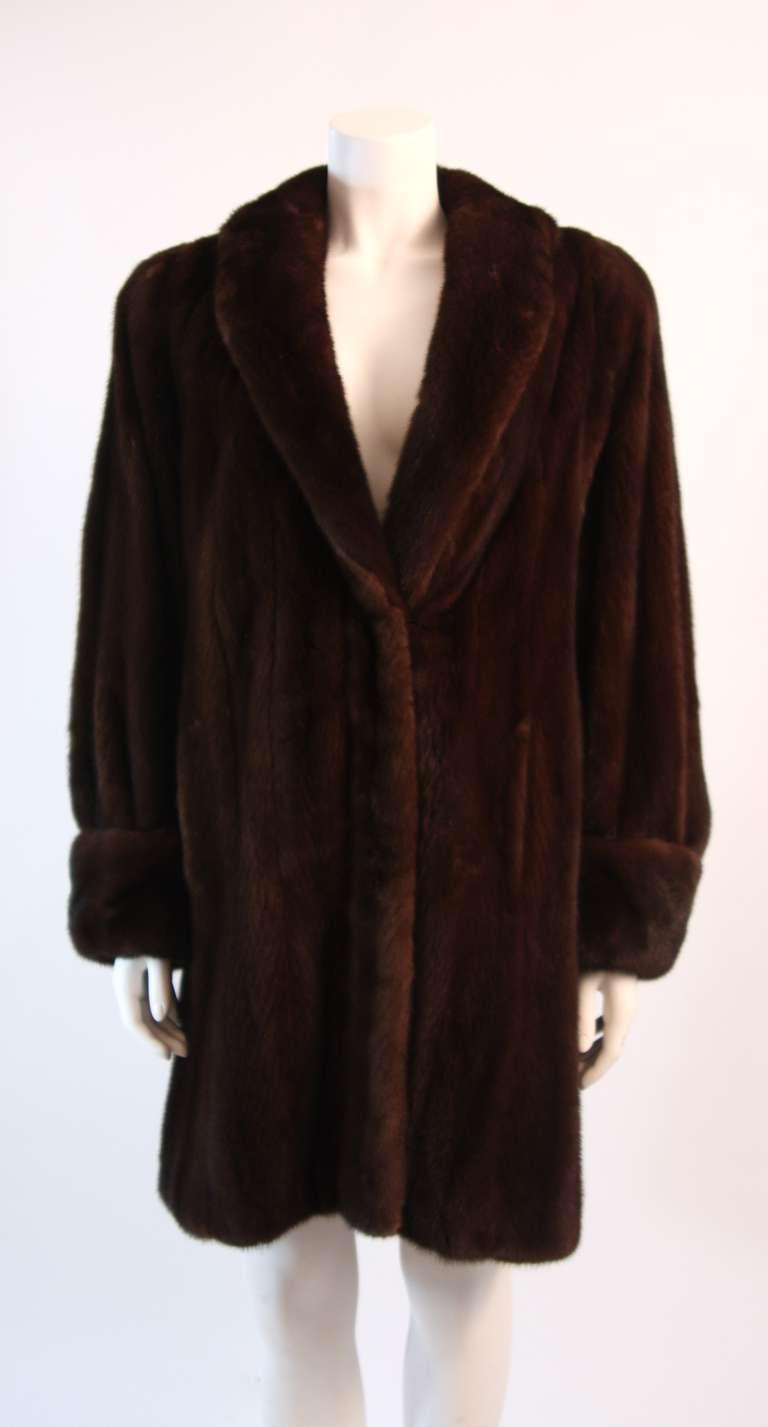 Luscious Somper Fur Couture Shawl Collar Mink 3/4 length Coat sz 6-8 2