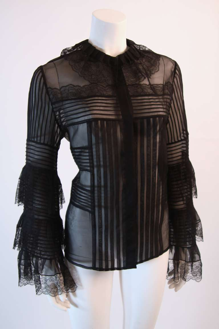 Oscar De La Renta Romantic Sheer Ruffled Blouse Size 12 at ...