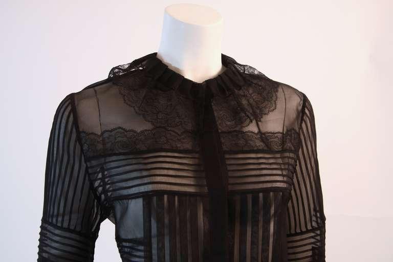 Oscar De La Renta Romantic Sheer Ruffled Blouse Size 12 7