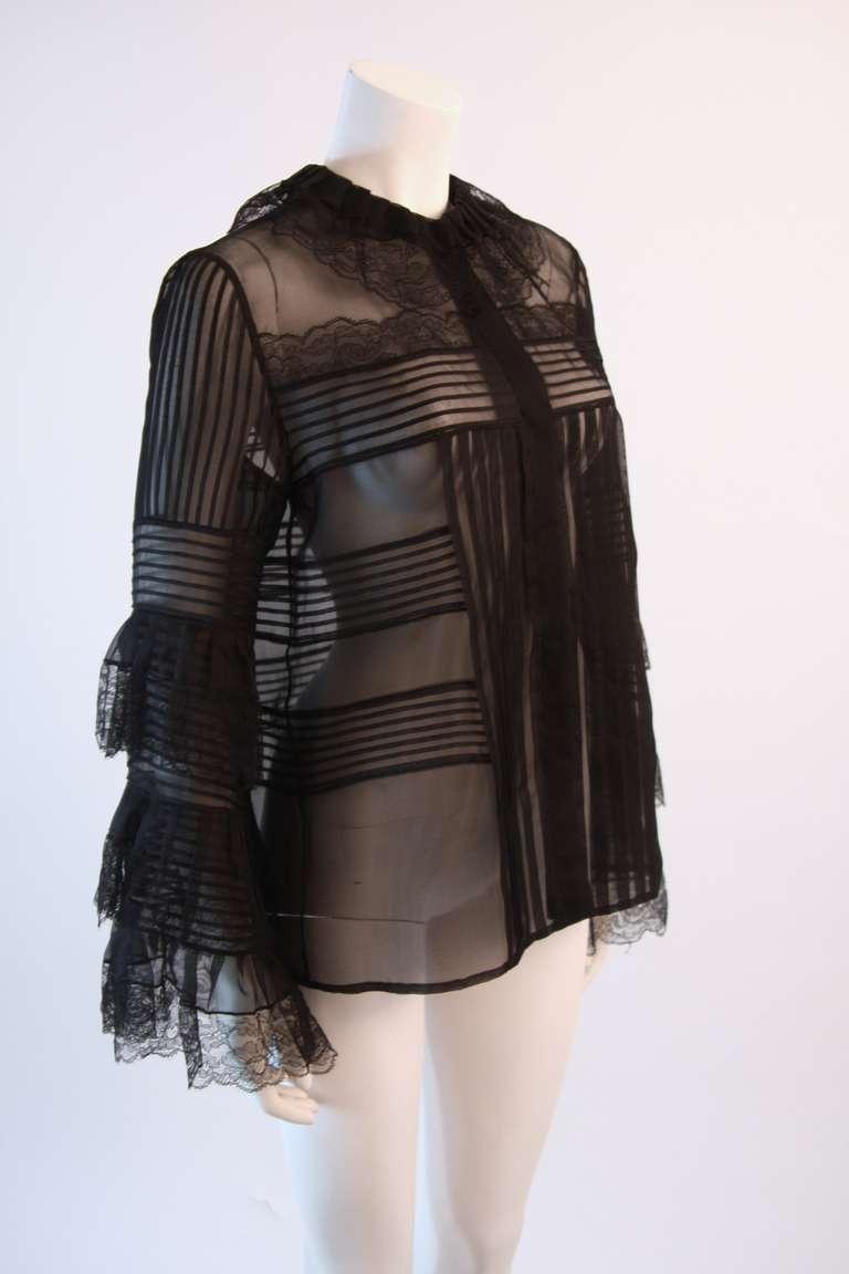Oscar De La Renta Romantic Sheer Ruffled Blouse Size 12 3