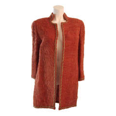 Mary Mcfadden Mohair Jacket with Gold Details Size 6