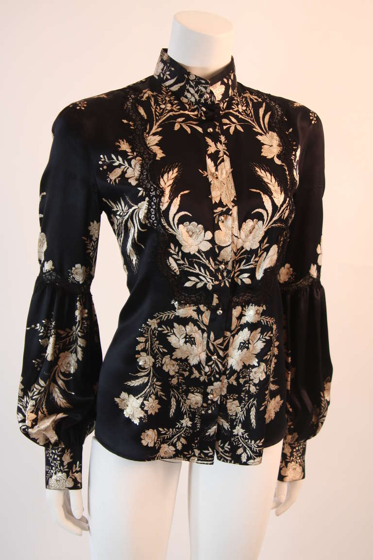 Romantic Roberto Cavalli Black Silk Gold Leaf on Ivory floral Print Blouse 2