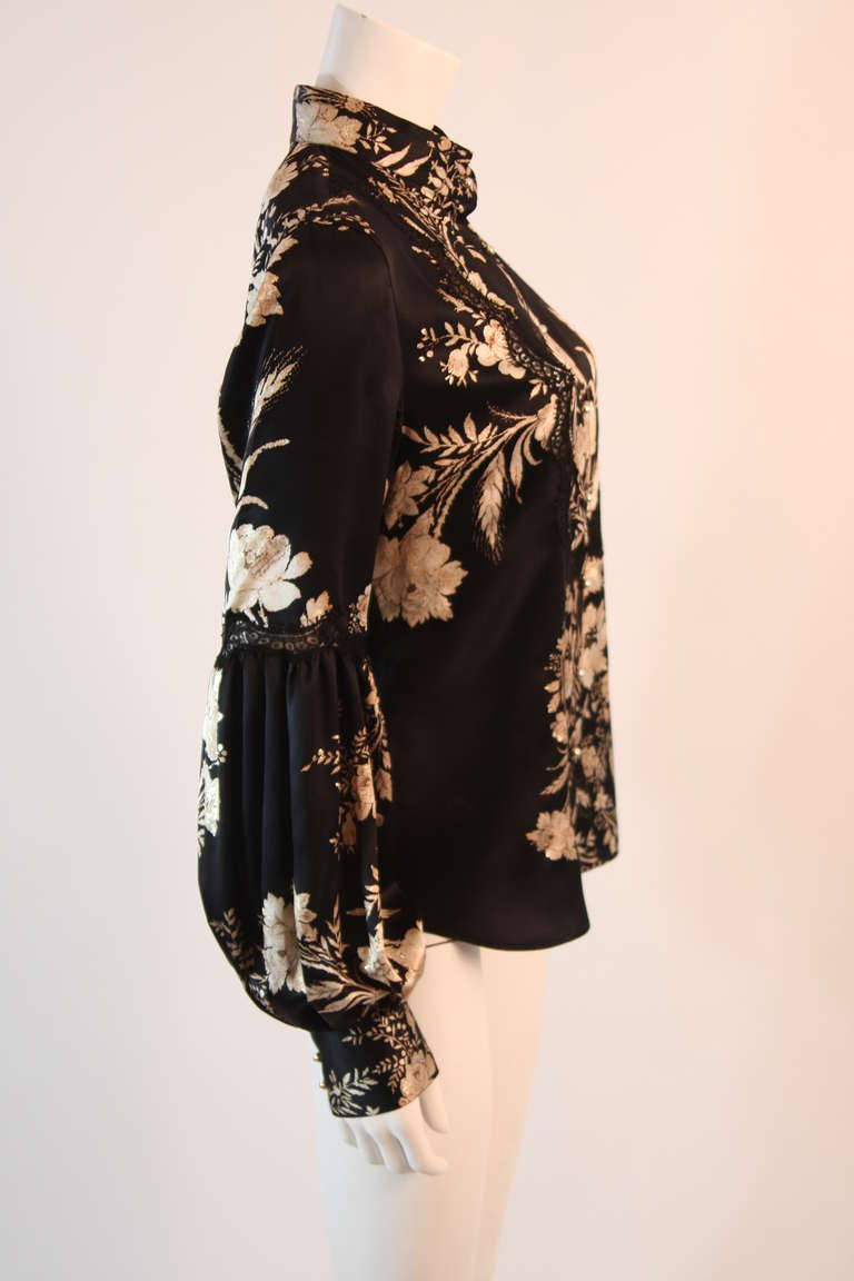 Romantic Roberto Cavalli Black Silk Gold Leaf on Ivory floral Print Blouse 3
