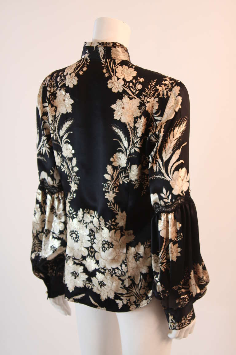 Romantic Roberto Cavalli Black Silk Gold Leaf on Ivory floral Print Blouse 4