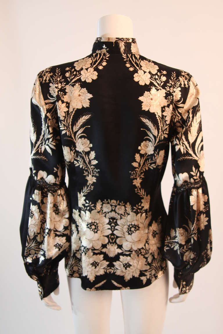 Romantic Roberto Cavalli Black Silk Gold Leaf on Ivory floral Print Blouse 5