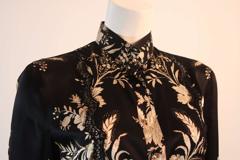 Romantic Roberto Cavalli Black Silk Gold Leaf on Ivory floral Print Blouse 6